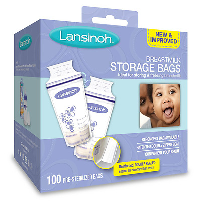 Lansinoh Breastmilk Storage Bags 100 Count Ideal for Storing and Freezing New.