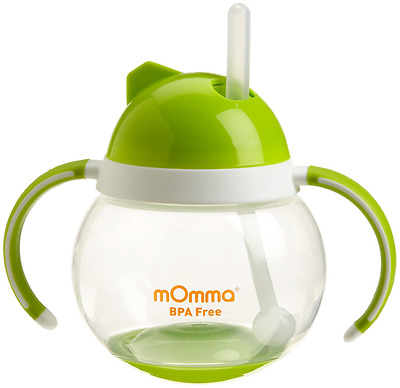 Lansinoh mOmma Straw Cup with Dual Handles, Green, Baby Toddler Ergonomic, New.