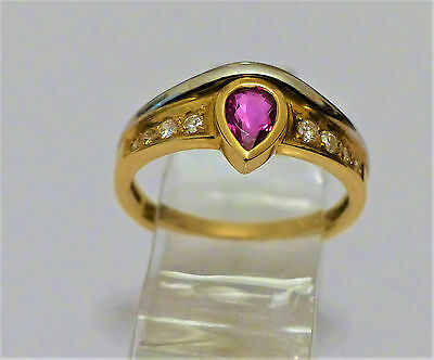 Brillant Rubin Ring  mit 0,43ct  in 750 GG/WG 3,5g ; RG 53 Neupreis: ca.€ 900