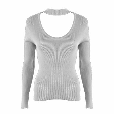 Women Halter Knitted Sweater Short Tops V-Neck Jumper Pullovers Gray XL
