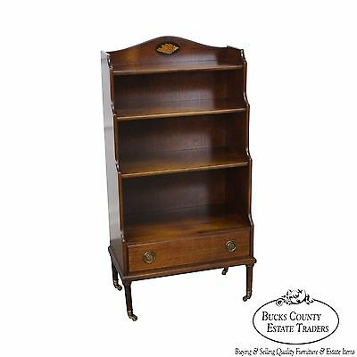 Quality Mahogany Inlaid Bookcase w/ Drawer by Madison Square