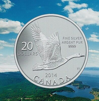 2014 Canada $20 Goose Commemorative .9999 Fine $20for$20 Silver coin COA dollar