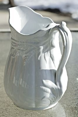 "Elsmore & Forster English White Ironstone 8"" Ceres Shape Milk Pitcher Ewer 1859"