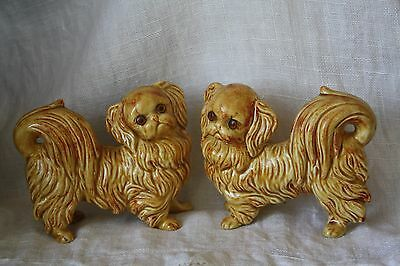 Vintage Pair Pekingese Dog Figurine with Glass Eyes  Mystery Mark