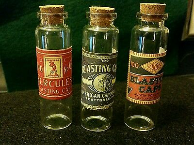 Vintage Style 3 Glass Blasting Cap Bottles Handcrafted by Artist