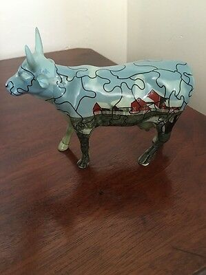 Cow Parade Puzzled Cow Figure 9181 Retired