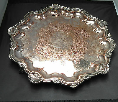 Vintage Silver Plated Tray With Ball & Claw Feet
