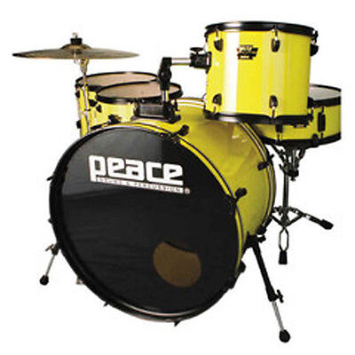 "New Peace Demolition Yellow Drum set with 24"" bass"