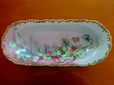 Antique Oval Bowl pink & Green Flowers with Gold & Black trim-Signed R.M.H.