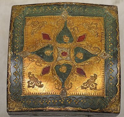 Beautiful Antique Italian Gold & Green Wooden Box w. Ornate Floral/ Leaf Designs