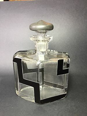 Art deco glass decanter with stopper