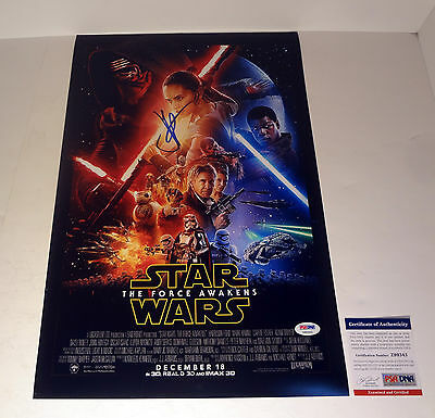 Jj Abrams Star Wars The Force Awakens Signed Autograph Movie Poster Psa/dna Coa