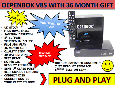 Openbox V8S Sat Box With 36 Month Gift Plug And Play!!! Free P&p Next Day Dlvry