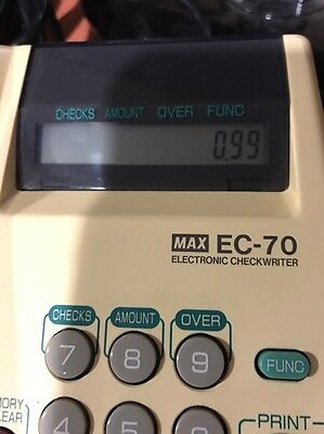 MAX EC-70 Electronic Check Writer Memory 14 Digit LCD Plug In Works