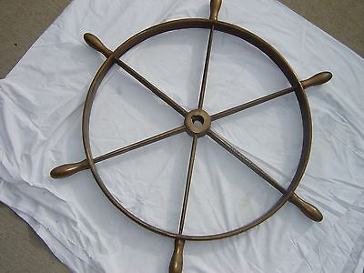 "Antique Brass Ship's Wheel 38"" In Diameter"