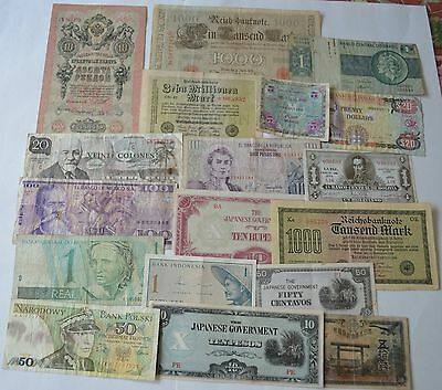 18 -  Old Notes Paper Money  from Many Countries. Circulated
