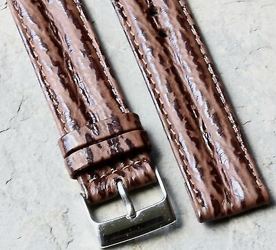 Shark grain waterproof leather 18mm padded stitched vintage watch band 1960s/70s