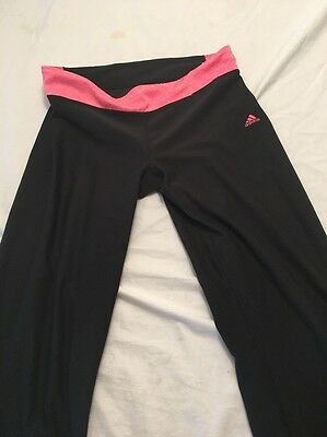 Adidas Work Out Fitness Black Pink Climalite Women's Pants M Medium