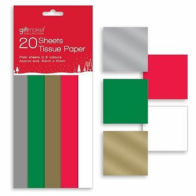 Anker - 20 Sheets of Christmas Tissue Paper Plain Traditional Colours