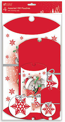 Pack Of 4 Cute Assorted Luxury Christmas Pillow Gift Pouches & Tags - 4 Sizes