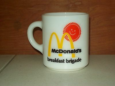 Vintage Mcdonald's Breakfast Brigade White Milk Glass Coffee Cup Mug