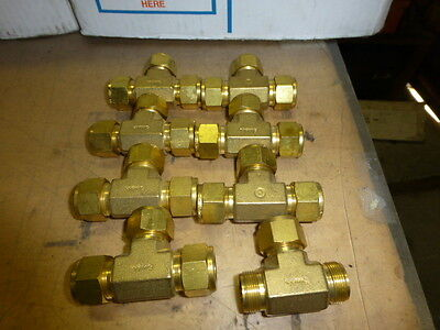New Lot Of 8  Swagelok Brass 5/8 Tubing Tees   No Reserve