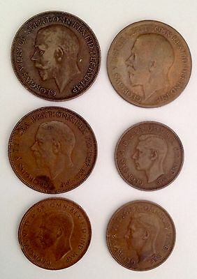 Mixed lot of Six (6) United Kingdom One Penny & Half Penny Coins Multiple Years