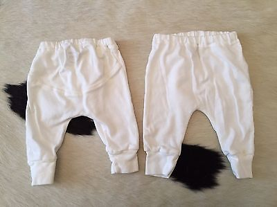 GIGGLE Infant Boy/Girl Organic Cotton Pants White 2 Pair 0-3month