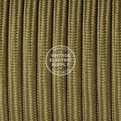 Light Brown Parallel (Flat) Cloth Covered Wire - Antique Lamp Cord - UL Listed