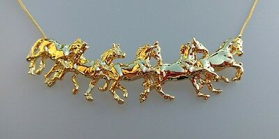 HORSE JEWELRY Five running horses necklace G Classic Forge Hill Sculpture design