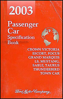 2003 Lincoln Mercury Service Specification Book LS Town Car Sable Grand Marquis