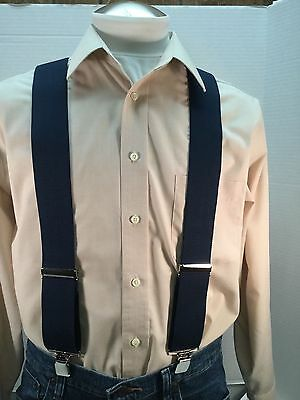"""New, Men's, Navy Blue, XL, 2"""", Adj.  Suspenders / Braces, Made in the USA"""