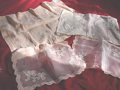 Vintage Lace Table Scarf Doily Lot 6 Asst Shadow Applique