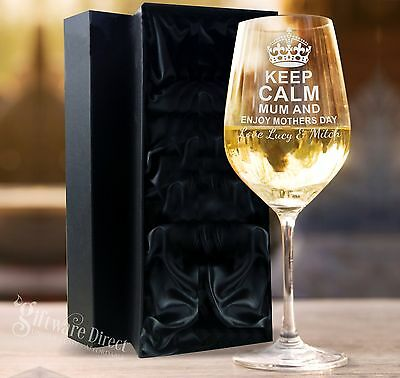 Personalised Engraved Mothers Day 360ml Wine Glass Gift Box Option Present Nan
