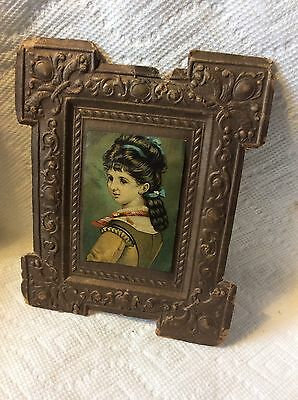 Antique Dresden Paper Young Girl Picture Christmas Ornament