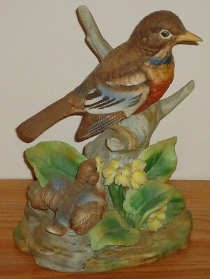 "ROBINS Mother & Baby Bird 8.5""H porcelain Figurine SPRING"