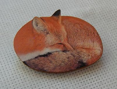 Sleeping Fox Brooch or Scarf Pin Accessories, Jewelry Accessories Wood red brown