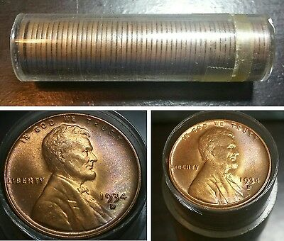 Roll of 1934 D Lincoln Head Wheat Cents 50 Pennies Uncirculated Coins