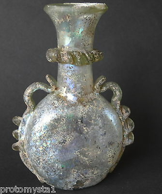 ▇ Syrian Islamic Umayyad-Early Abbasid Caliphate Clear Glass Gourd Bottle-7-8Th