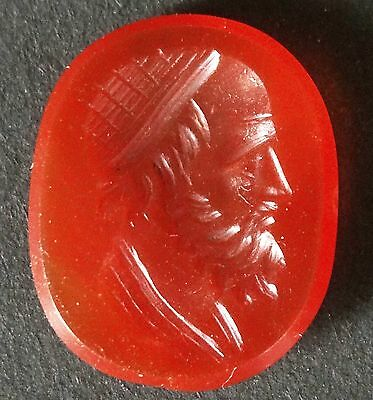 ▇ Carnelian  Intaglio Socrates Wear  Radiate Crown-Roman Neoclassic 18Th-19Th C