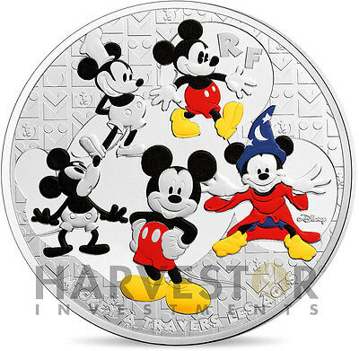 2016 Mickey Through The Ages - 5 Oz. Coin - France 50 Euro - Mintage 500