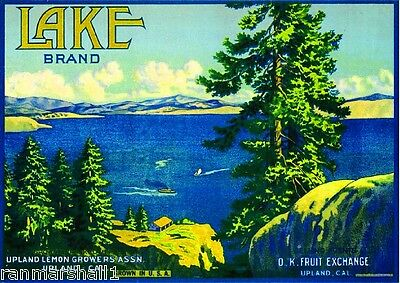 Upland California Lake Arrowhead Lemon Citrus Fruit Crate Label Art Print
