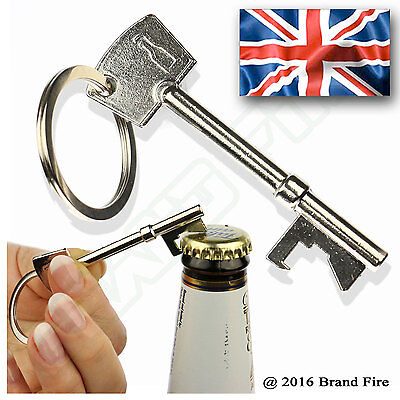 Key Shaped Beer Bottle Opener - Bar Tool Keyring Keychain Metal Cap Lid Pry
