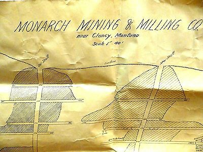 1915 Monarch Mining & Milling Mine Shaft Schematic Map original Clancy Montana