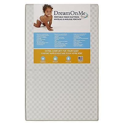 Portable Crib Mattress Foam Waterproof Sleep Baby Non-Allergenic Vinyl Cover