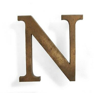 Vintage solid brass letter - N, industrial, architectural element 5.25""