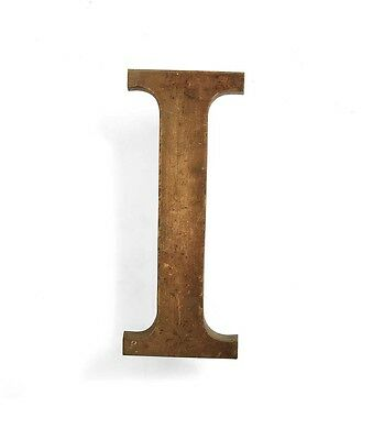 Vintage solid brass letter - I, industrial, architectural element 5.25""