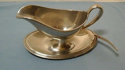 Pewter  Reed And Barton Gravy Boat Attached Under Plate