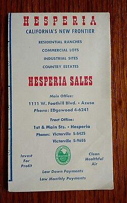 Vintage Paper Folded Map Hesperia California New Frontier