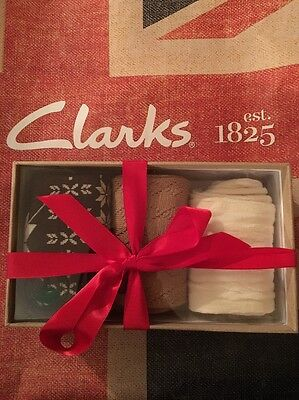 NEW IN BOX CLARKS 3 Pair Womens Socks Pattern & Solid One Size *Gift Set